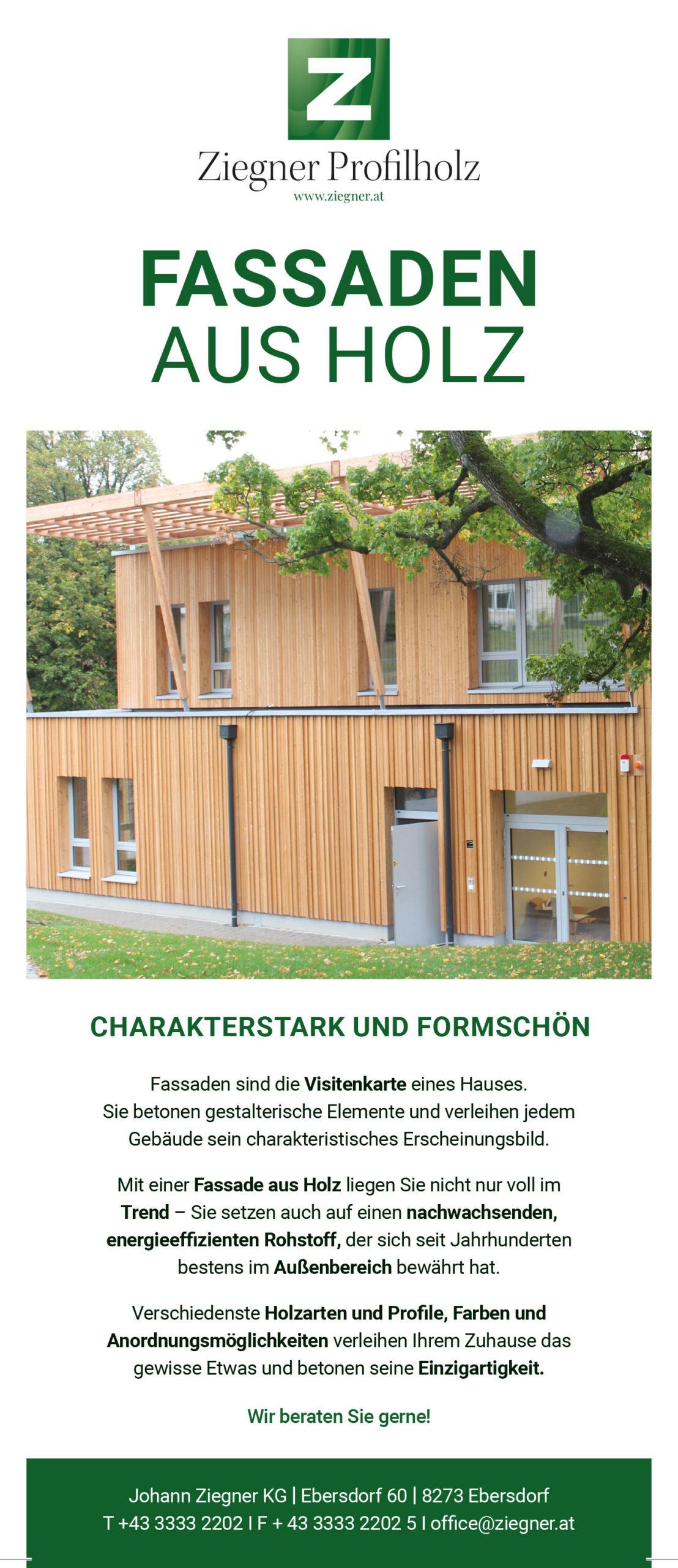 Inserat Profilholz Ziegner Fassaden aus Holz